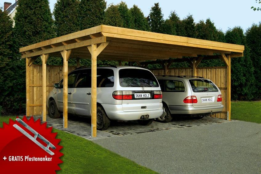 Holz-Carport SKANHOLZ Lausitz Flachdach Doppelcarport