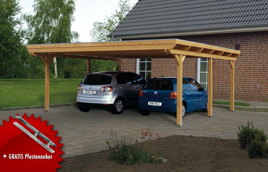 Holz-Carport-Bausatz SKANHOLZ Emsland Flachdach Doppelcarport Leimholz