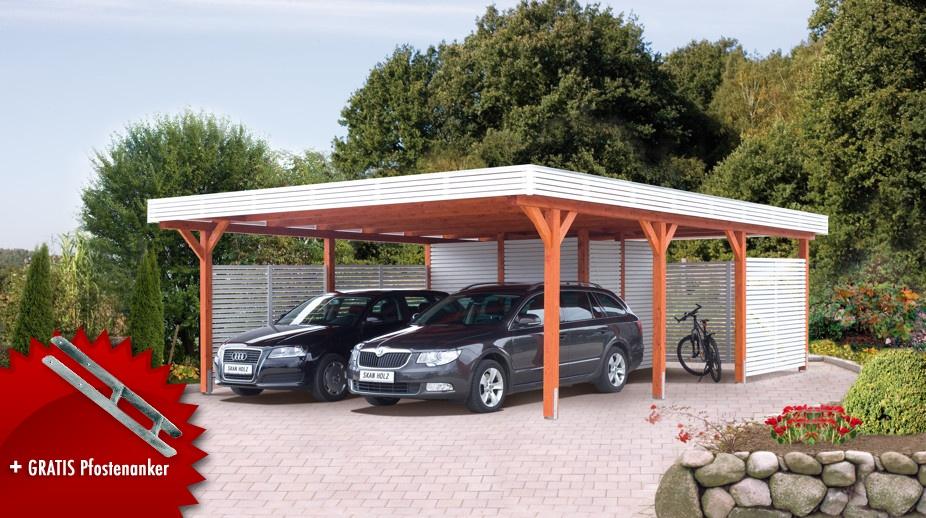 Holz-Carport SKANHOLZ Spessart Flachdach Doppelcarport