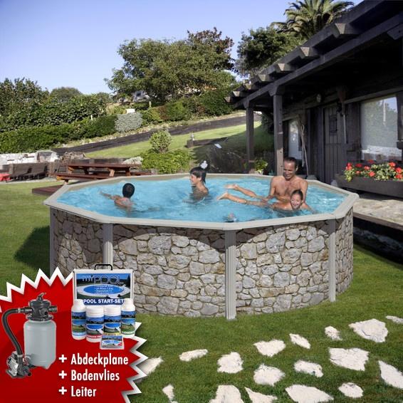 Mypool poolset feeling steinoptik stahlwandbecken swimmingpool for Poolfolie steinoptik
