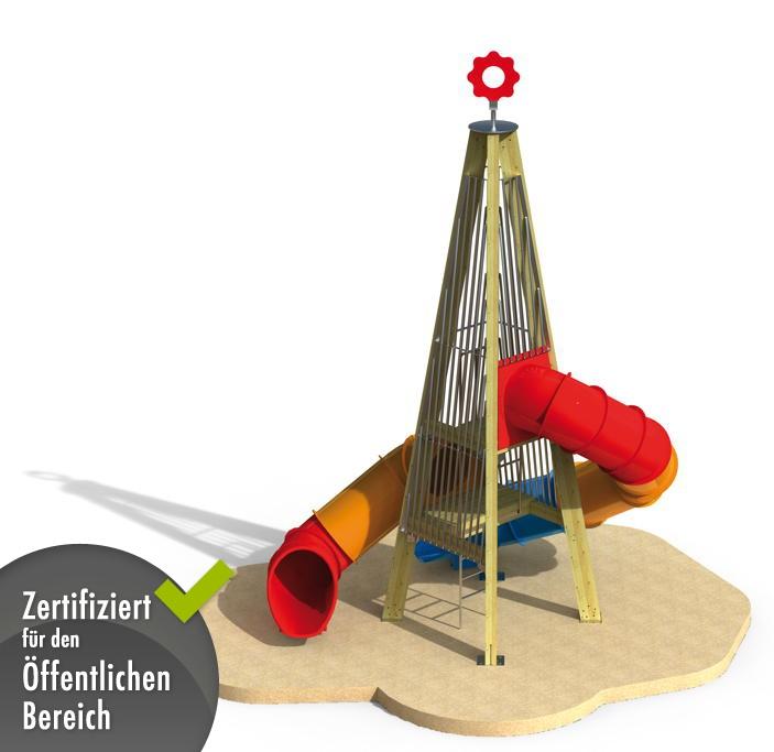 abenteuer spielplatz din en 1176 mega kletterturm mit r hrenrutsche klettersystem vom. Black Bedroom Furniture Sets. Home Design Ideas