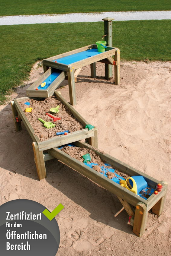 Sandtisch Holzhof «Spiel-Wasser-Sandkasten» Wasser-Strasse Spieltisch | Kinderspielgeräte für ...