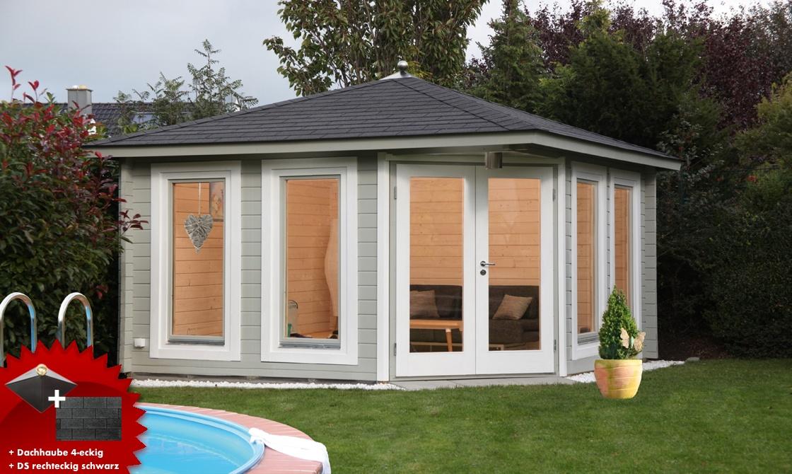 5 eck gartenhaus 395x395cm holzhaus bausatz 44 doppelt r. Black Bedroom Furniture Sets. Home Design Ideas