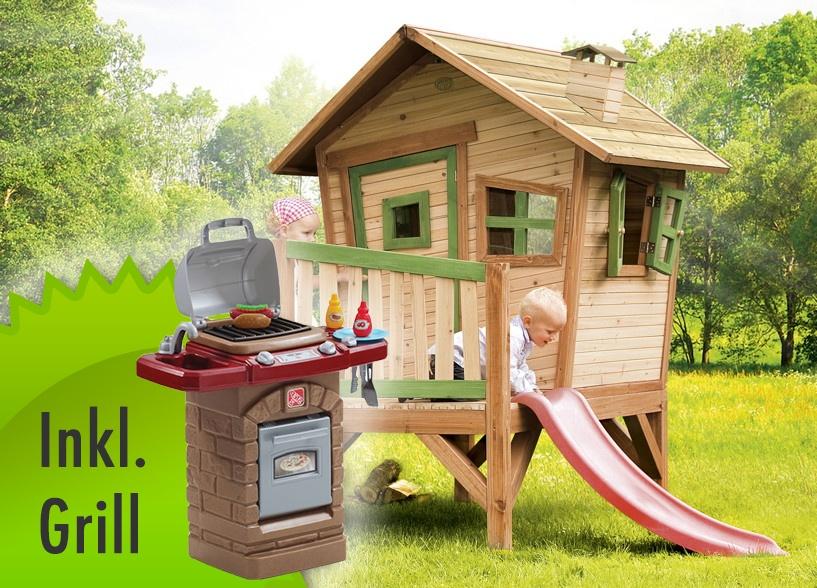 Holz-Kinder-Spielhaus Krummy klein Gartenhaus Comic Stelzenhaus INKL. SPIELGRILL