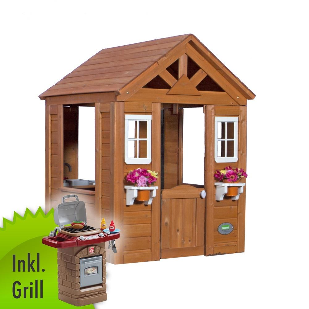 Kinder-Spielhaus Timberlake Gartenhaus INKLUSIVE SPIEL-GRILL