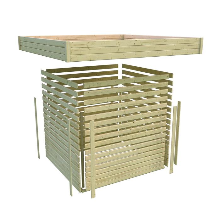 Gartenhaus-flachdach Karibu «corner Cube 2» Poolhaus Mit Terrasse ... Hubsches Gartenhaus Aus Holz Selber Bauen