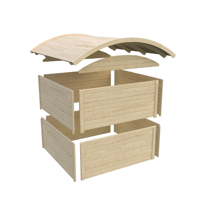 Gartenhaus Holz Endbehandelt ~ 19mm starkes Massivholz Tonnendach natur, inkl Bitumendachpappe