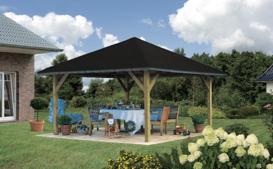 holz pavillon offen mit walmdach 4 eck gartenpavillon. Black Bedroom Furniture Sets. Home Design Ideas