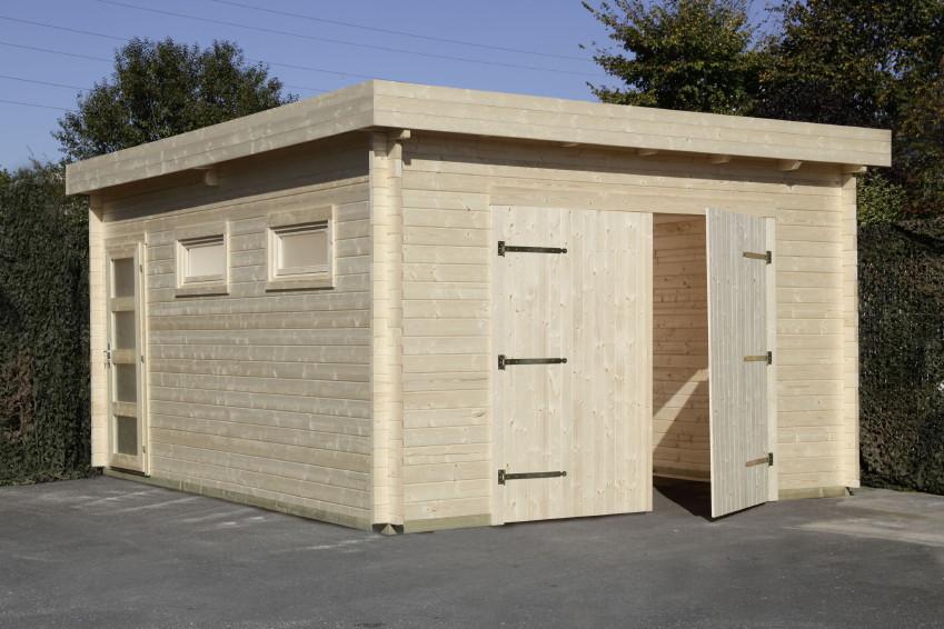 garage wolff 44 moderna holzgarage 44mm blockbohle seitl t r 2 fenster holz angebot. Black Bedroom Furniture Sets. Home Design Ideas