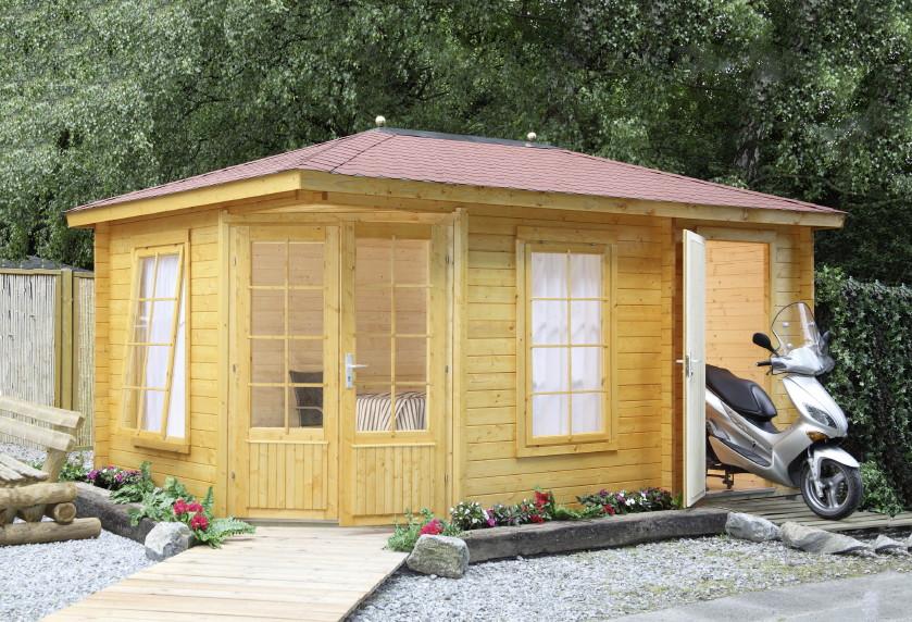 5 eck gartenhaus 453x299cm holzhaus bausatz doppelt r mit fenstern gartenhaus aus holz. Black Bedroom Furniture Sets. Home Design Ideas