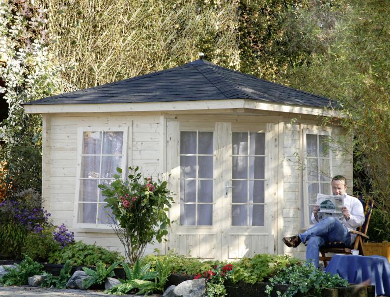 5-Eck-Gartenhaus 299x299cm Holzhaus Bausatz Doppeltür 40mm Stärke, Gartenlaube
