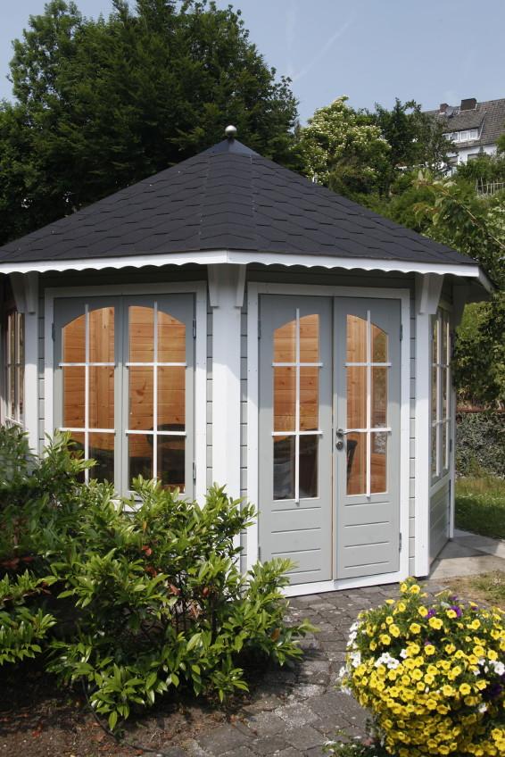holz pavillon geschlossener mit panorama fenstern u t ren 8 eck gartenpavillon vom garten. Black Bedroom Furniture Sets. Home Design Ideas