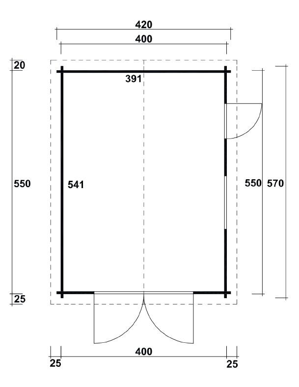 garage wolff 44 b holzgarage bausatz blockbohle. Black Bedroom Furniture Sets. Home Design Ideas