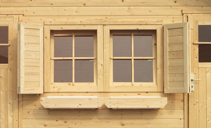 Kinderspielhaus Holz Hochwertig ~ Fensterläden KARIBU Doppelfenster für 28 mm  Holz Angebot