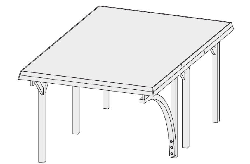 holz carport bausatz karibu classic einzelcarport flachdach carport ebay. Black Bedroom Furniture Sets. Home Design Ideas