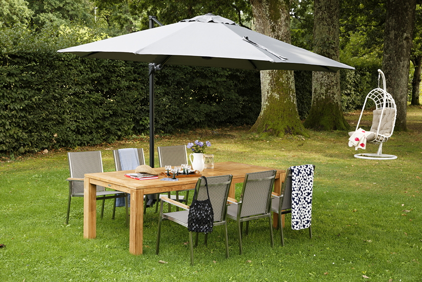 neue edelstahl gartenst hle bergamo von diamond garden mit teak armlehnen und stoffbespannung. Black Bedroom Furniture Sets. Home Design Ideas