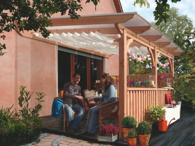 TerrassenUberdachung Holz Leer ~ Frontelement für Terrassenüberdachung Karibu Douglasie 1 3