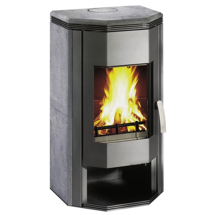Kamin-Ofen WAMSLER KF 101-Prisma 8,0 kW Naturstein Stahlkamin mit Holzfach