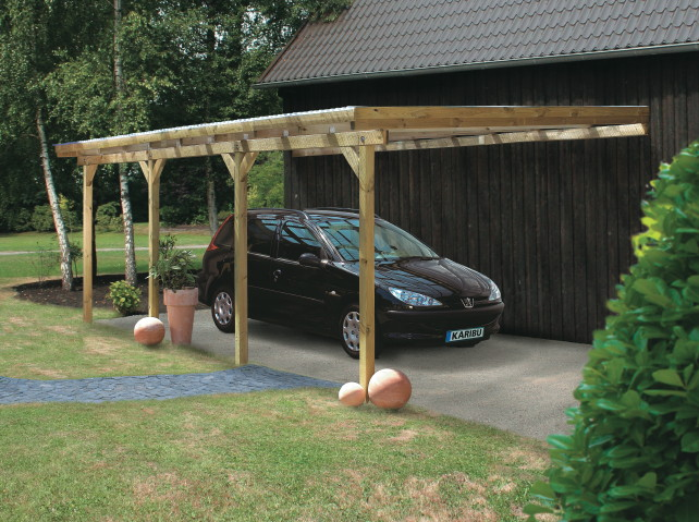 Holz-Carport-Bausatz KARIBU Anlehn-Carport Flachdach-Carport Wandcarport