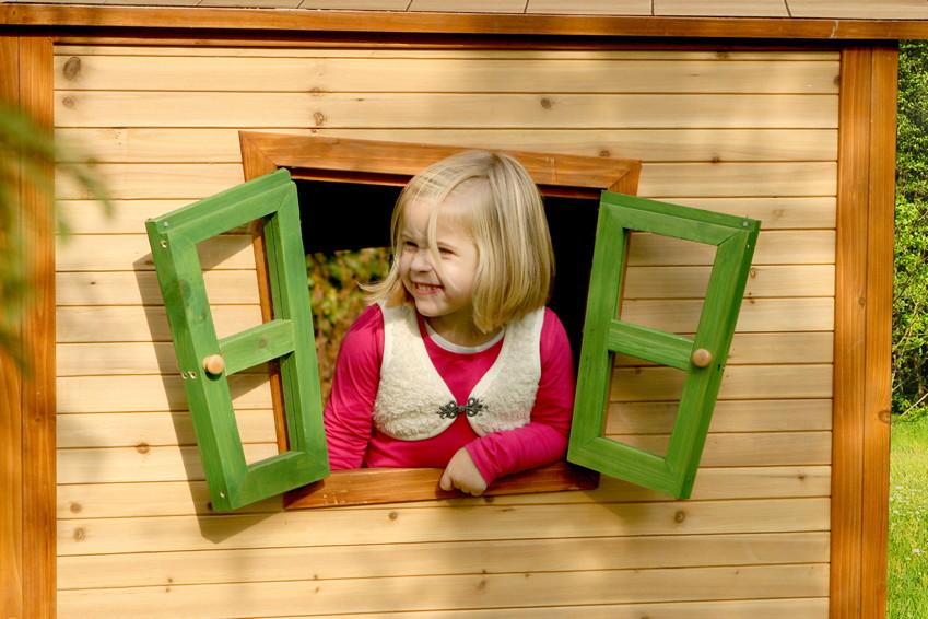 Kinder-Spielhaus Axi «JESSE» Holz Comic Kinderspielhaus mit Terrasse ...