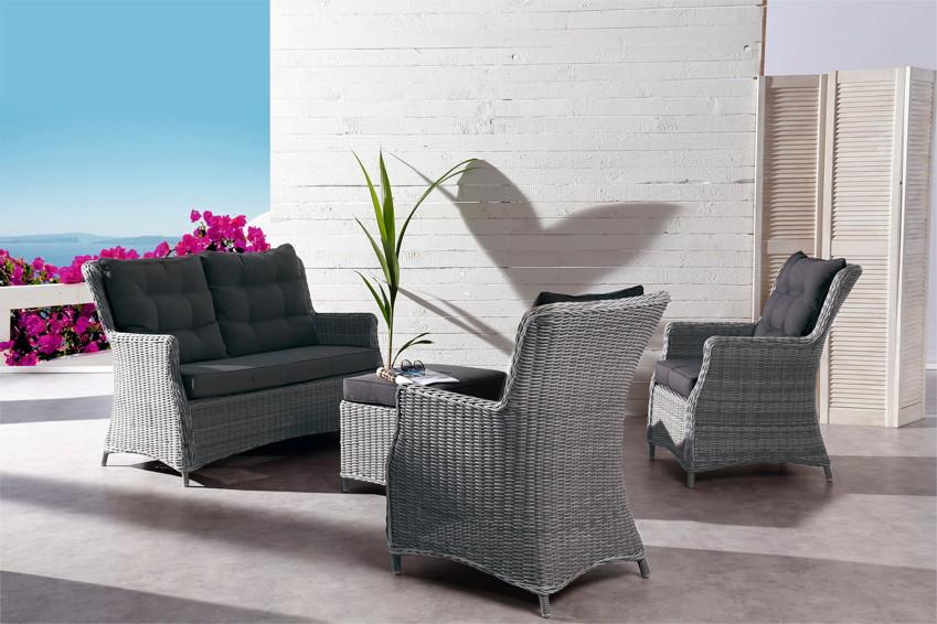 lounge sofa polyrattan 2er sofa mit integriertem tisch ebay. Black Bedroom Furniture Sets. Home Design Ideas