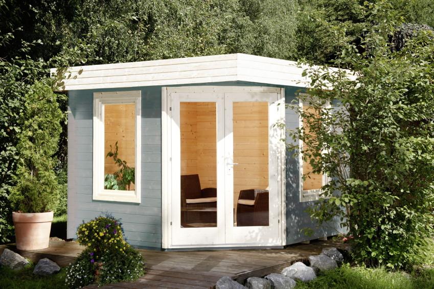 Gartenhaus Flachdach 280x280cm Fünf-Eck Holz Haus Bausatz, Doppeltür