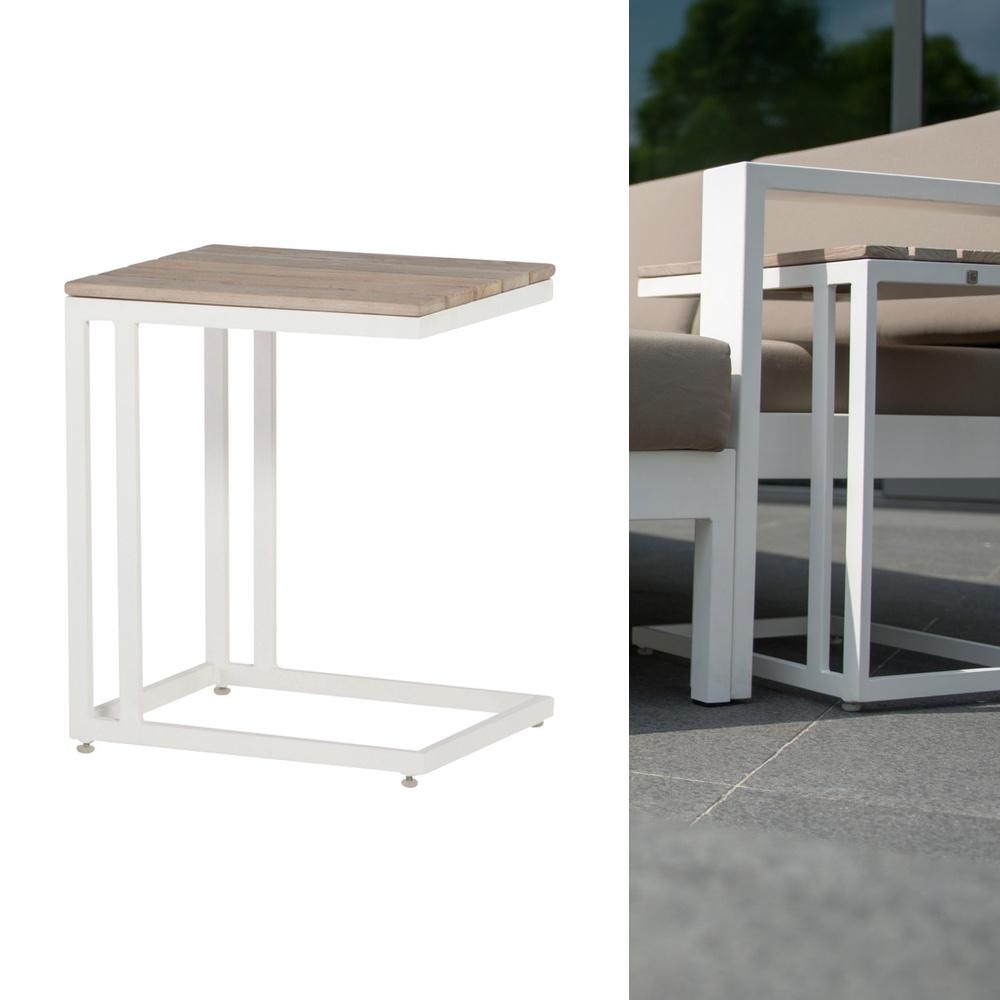 4SEASONS «Cancun weiß» 45x35 cm Beistelltisch Tisch Lounge ...