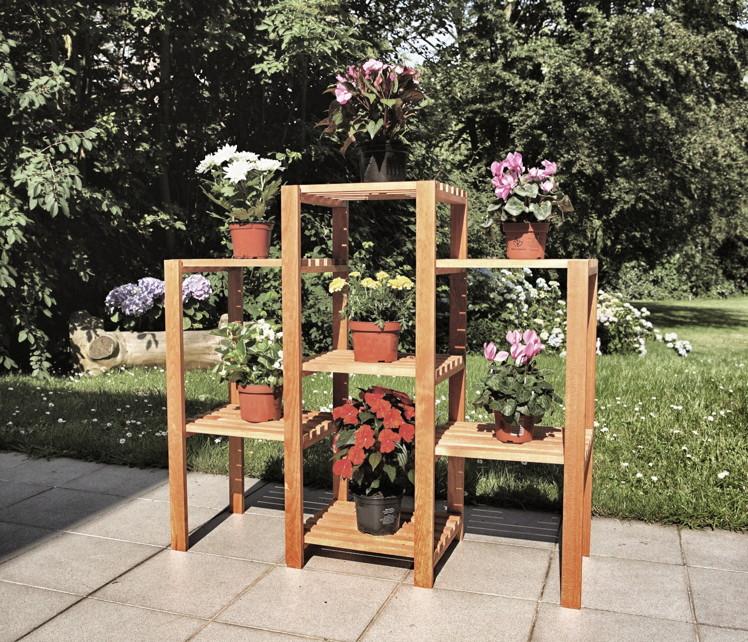 Holz blumentreppe promadino heilbronn blumenregal - Gartendekoration holz ...