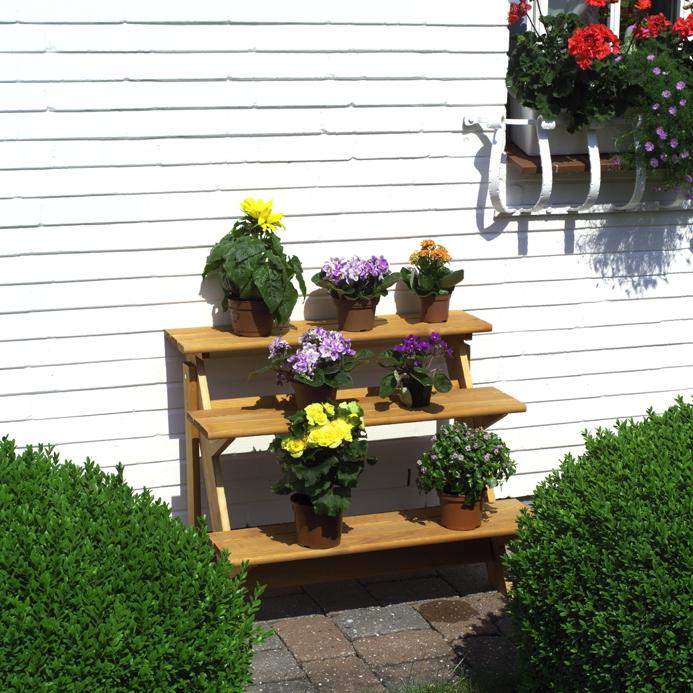 Holz-Blumentreppe PROMADINO «Blumentreppe» Gartendekoration, Blumen ...