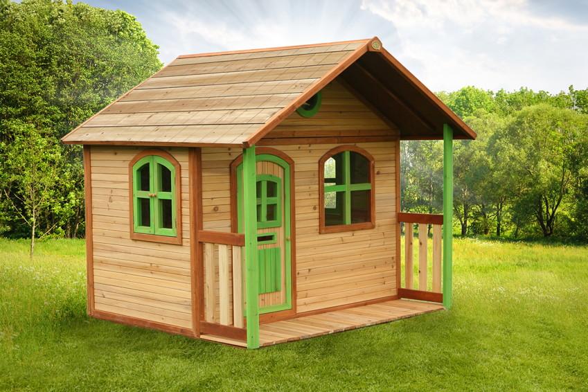 Kinder-Holz-Spielhaus Classic 170cm-breit Kinderspielhaus Veranda-Terrasse