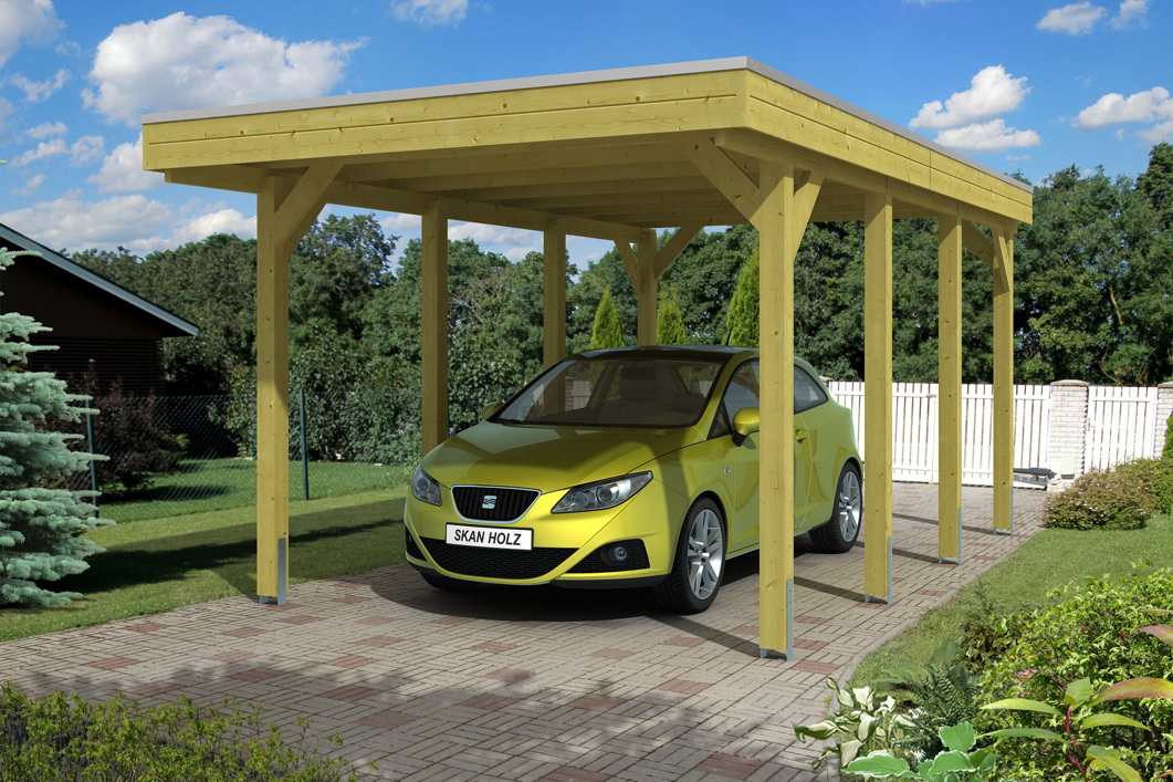 holz carport bausatz skanholz friesland holzdach flachdach einzelcarport carports aus holz. Black Bedroom Furniture Sets. Home Design Ideas