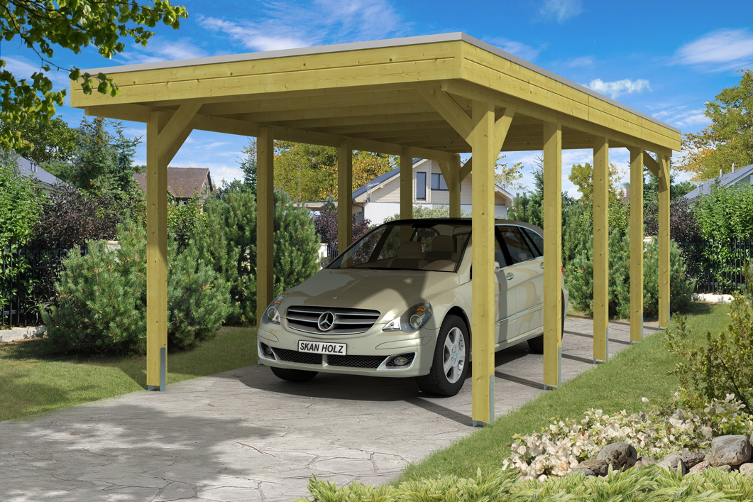 holz carport bausatz skanholz friesland aluminiumdach flachdach einzelcarport holz angebot. Black Bedroom Furniture Sets. Home Design Ideas
