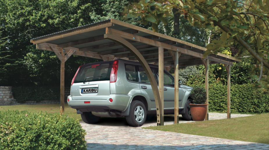 holz carport bausatz karibu eco einzelcarport flachdach carport ebay. Black Bedroom Furniture Sets. Home Design Ideas
