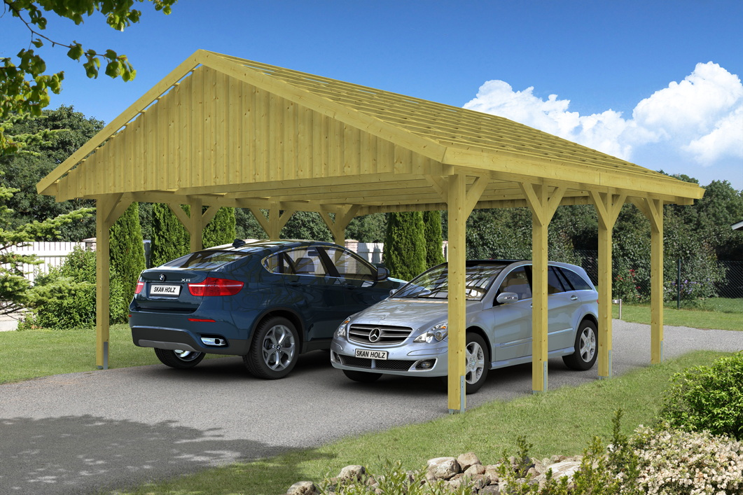 holz carport skanholz sauerland doppelcarport mit dachlattung satteldach carports aus holz. Black Bedroom Furniture Sets. Home Design Ideas