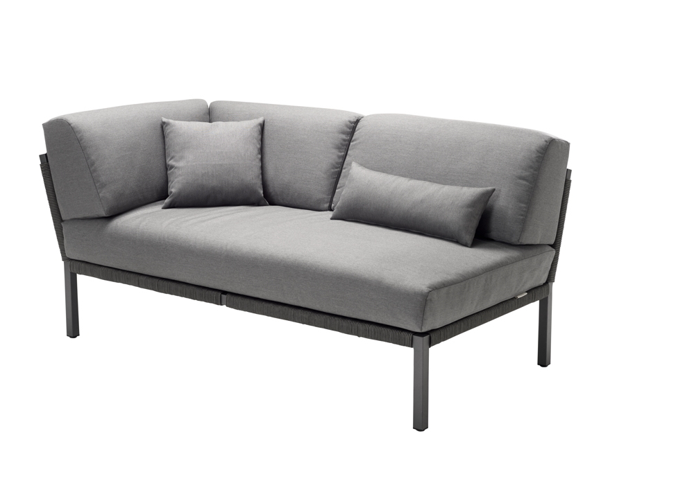 Lounge Element Solpuri Club 2er Couch Armlehne Rechts Anthrazit