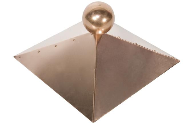 KupferDachhaube für HolzPavillon 4eckig mit Kupferkugel