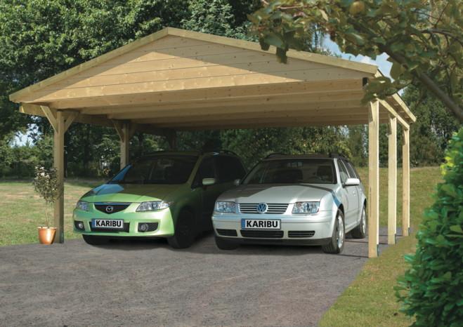 Holz-Carport-Bausatz KARIBU Classic Satteldach Doppelcarport