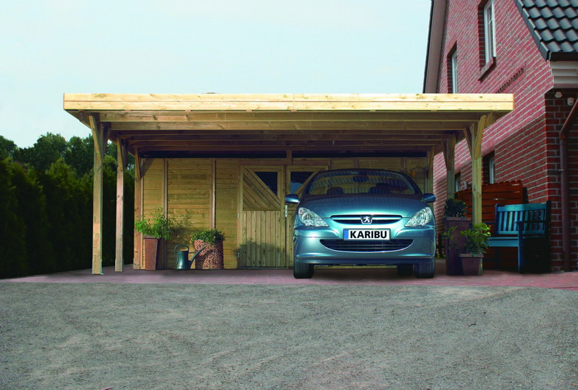 Holz-Carport-Bausatz KARIBU Classic Doppelcarport Flachdachcarport