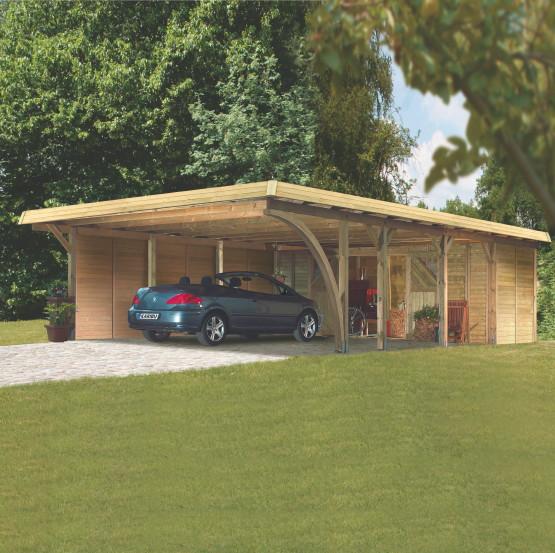 Holz-Carport-Bausatz KARIBU Premium Doppelcarport
