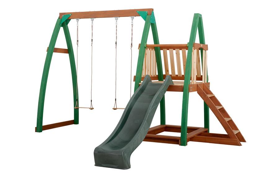 Kinder-Schaukel Axi SAM Doppelschaukel mit Rutsche Holzschaukel mit Anbau