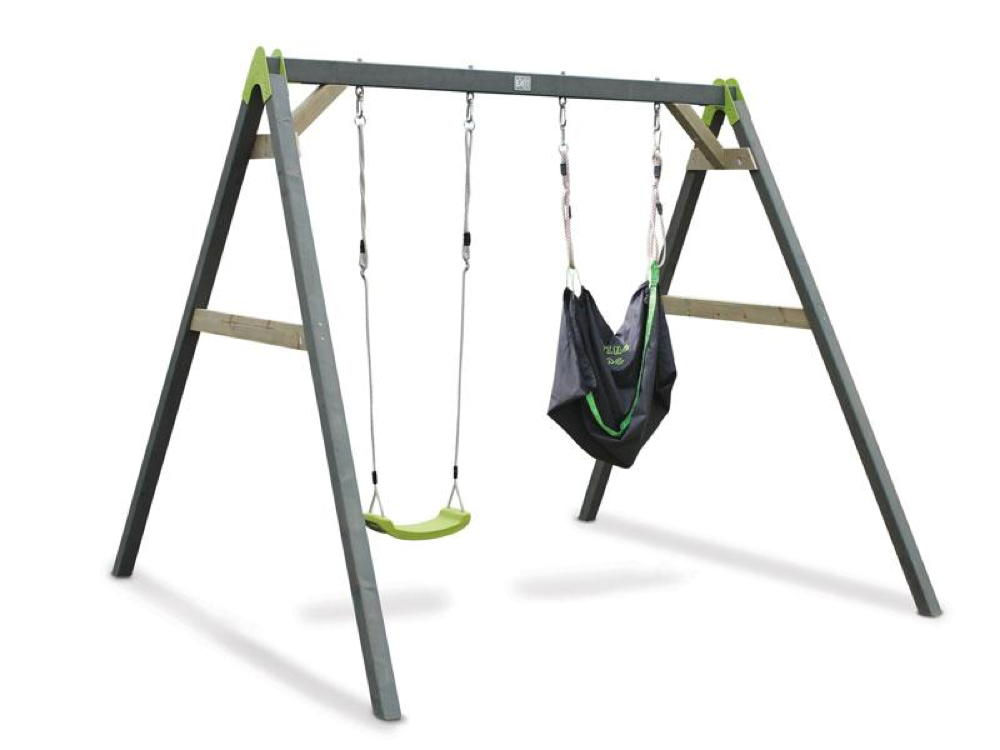 Kinder-Schaukel EXIT Aksent Doppelschaukel mit Sitzsack grün Holzschaukel