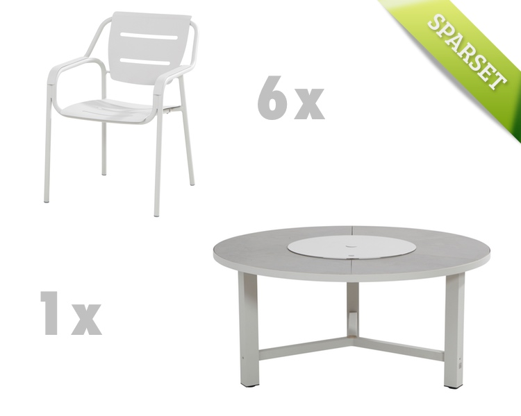 Gartenmöbelset 4SEASONS Eco seashell Dining-Set 1, Sitzgruppe Aluminium