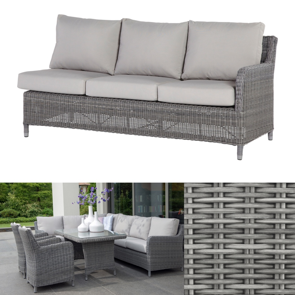 polyrattan gartensofa indigo rock 3er couch geflecht cosy lounge armlehne links gartenm bel. Black Bedroom Furniture Sets. Home Design Ideas