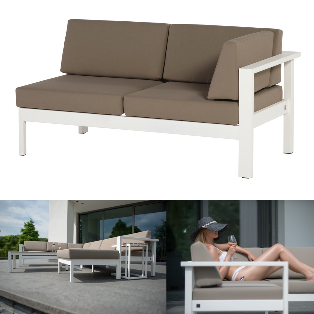 gartenbank 4seasons cosmo wei 2er sofa armlehne links loungeelement gartenm bel fachhandel. Black Bedroom Furniture Sets. Home Design Ideas