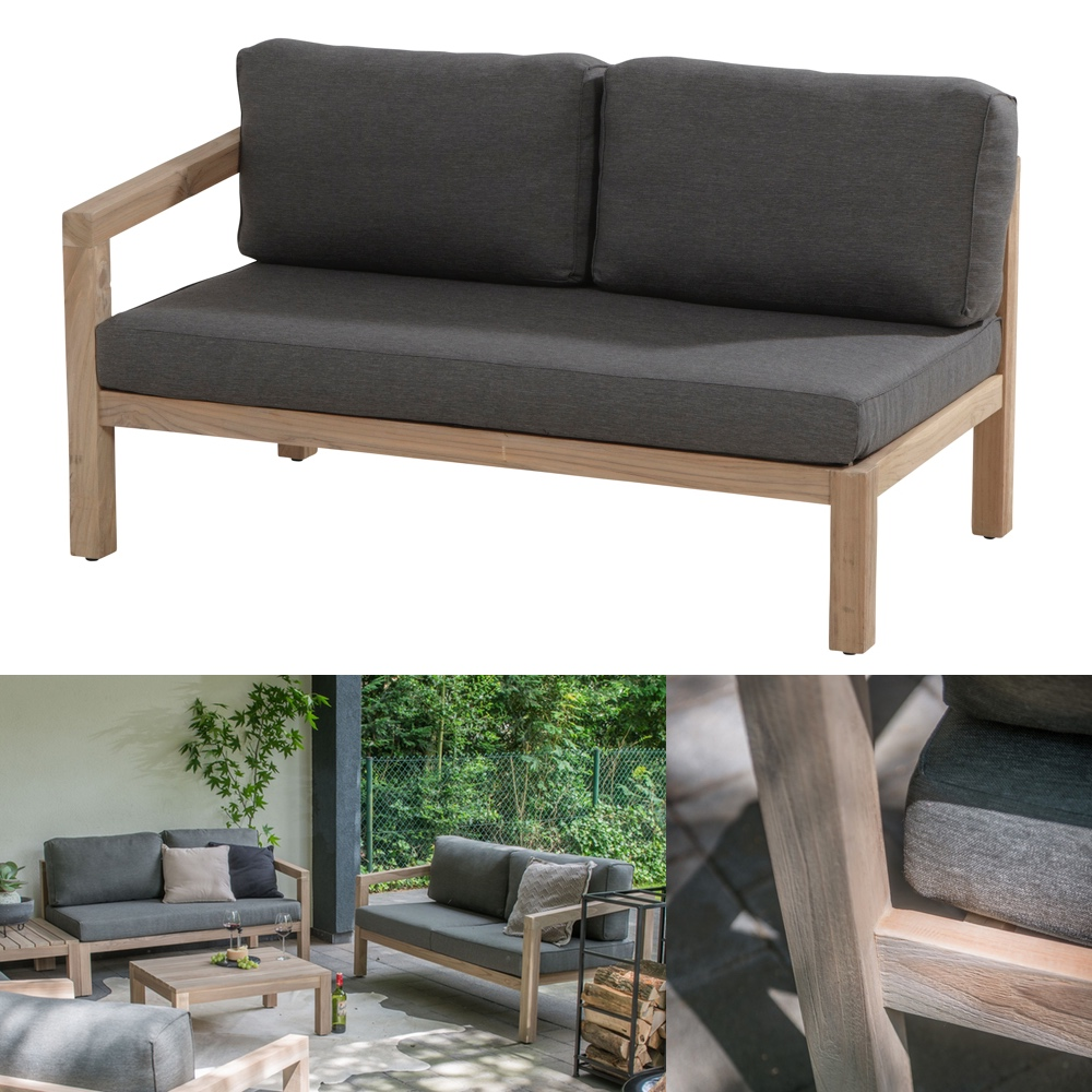 gartenbank 4seasons evora 2 er sofa armlehne rechts teakholz inkl kissen gartenm bel. Black Bedroom Furniture Sets. Home Design Ideas