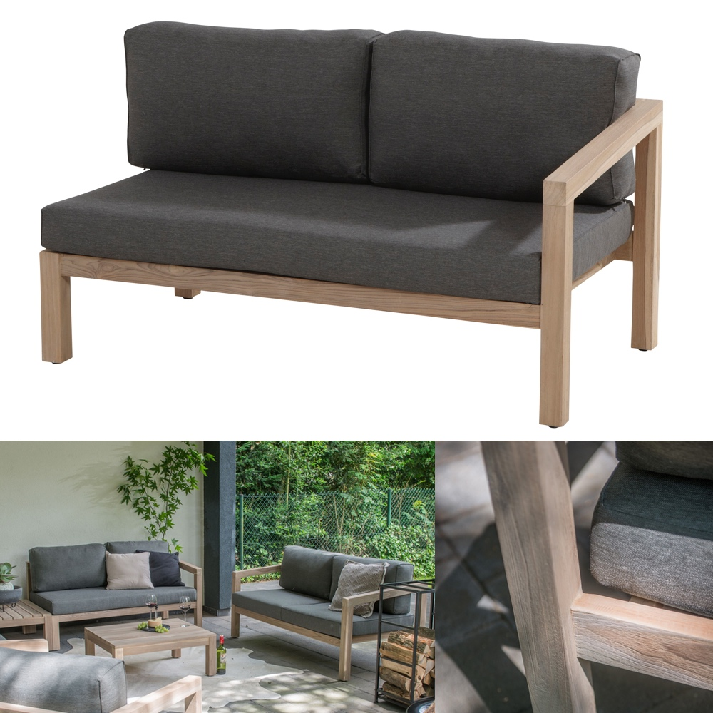 gartenbank 4seasons evora 2 er sofa armlehne links teakholz inkl kissen gartenm bel. Black Bedroom Furniture Sets. Home Design Ideas