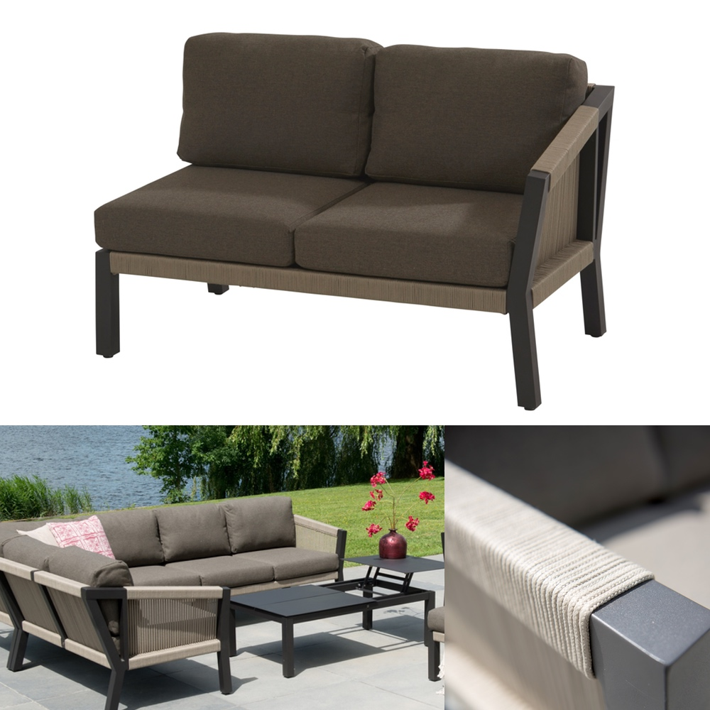 gartenbank 4seasons oslo 2er sofa armlehne links geflechtlounge mit kissen gartenm bel. Black Bedroom Furniture Sets. Home Design Ideas