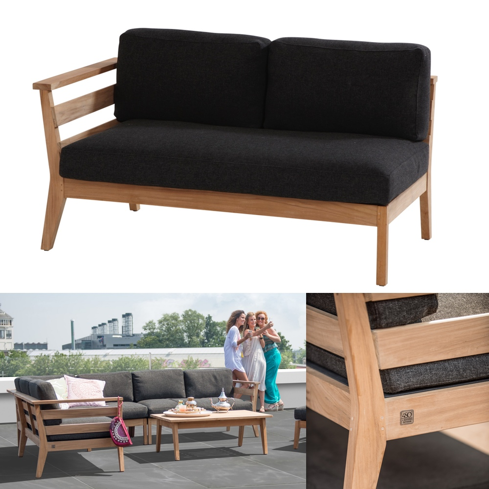 gartenbank 4seasons polo 2er sofa endmodul armlehne rechts teak mit kissen gartenm bel. Black Bedroom Furniture Sets. Home Design Ideas
