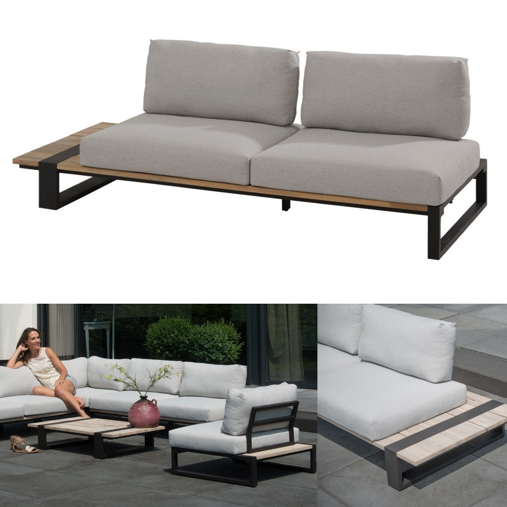 gartenbank 4seasons duke 2er sofa rechts aluminiumgestell teakholz kissen gartenm bel. Black Bedroom Furniture Sets. Home Design Ideas