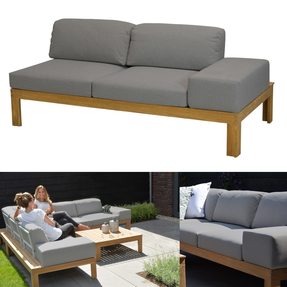 Gartenbank 4Seasons «Mistral Teak» 2er Sofa links Teakholz Kissen ...